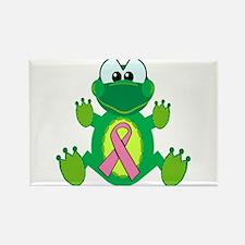 Pink Awareness Ribbon Frog Rectangle Magnet (10 pa