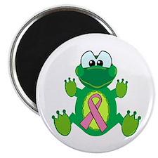 "Pink Awareness Ribbon Frog 2.25"" Magnet (100 pack)"