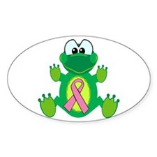 Pink Awareness Ribbon Frog Oval Decal