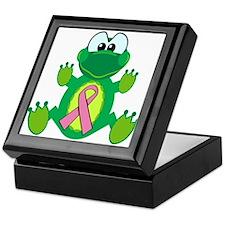 Pink Awareness Ribbon Frog Keepsake Box