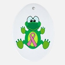 Pink Awareness Ribbon Frog Oval Ornament