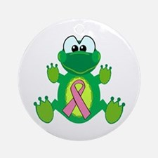 Pink Awareness Ribbon Frog Ornament (Round)