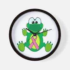 Pink Awareness Ribbon Frog Wall Clock