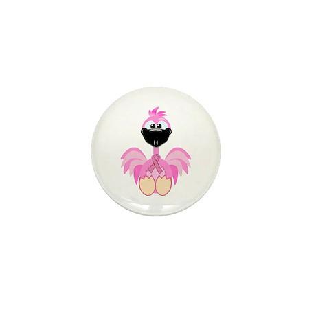 Pink Awareness Ribbon Pink Flamingo Mini Button (1