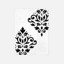 Scroll Damask Art I Black On White 5'x7'area Rug