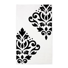 Scroll Damask Art I Black On White 3'x5' Area Rug