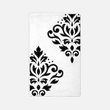 Scroll Damask Art I Black On White 3'x5' Area Rug