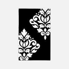 Scroll Damask Art I White On Black 3'x5' Area Rug