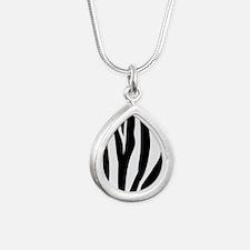 Zebra Striped animal Silver Teardrop Necklace