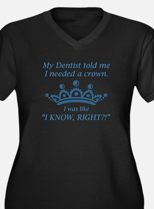 I Needed A Crown Women's Plus Size V-Neck Dark T-S