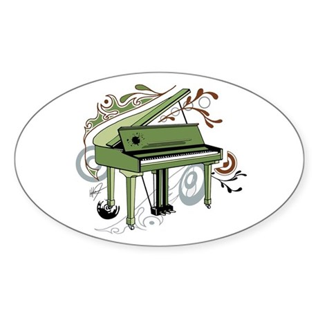 abstract piano Oval Sticker