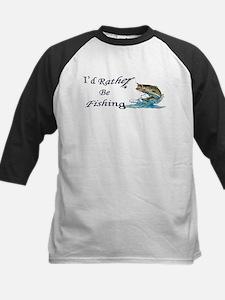 Rather Be Fishing Kids Baseball Jersey