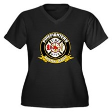 Firefighters Badge Women's Plus Size V-Neck Dark T