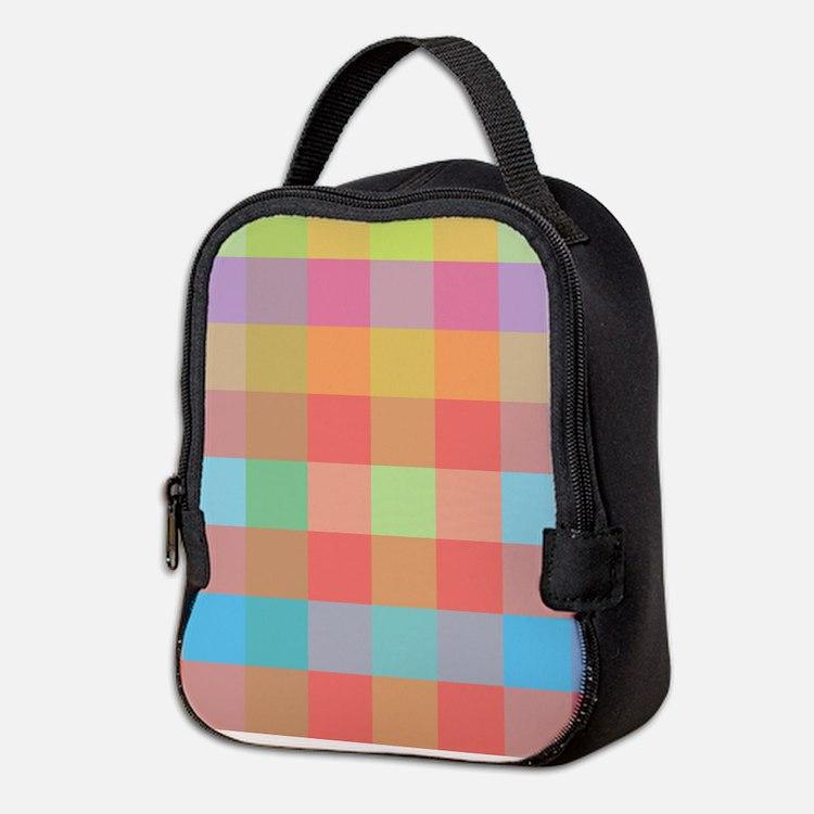 Plaid pink and purple Neoprene Lunch Bag