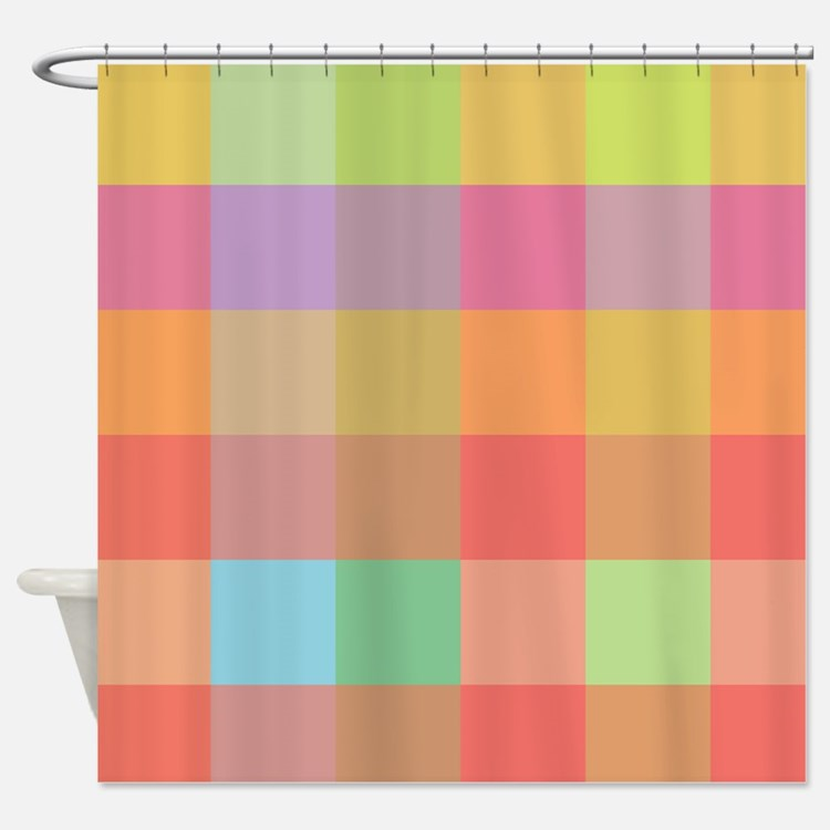 Plaid pink and purple Shower Curtain