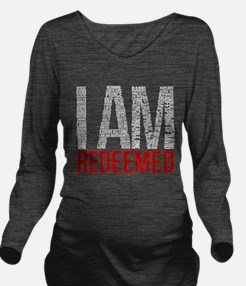 I Am Redeemed - Black/Red Long Sleeve Maternity T-