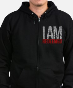 I Am Redeemed - Black/Red Zip Hoodie