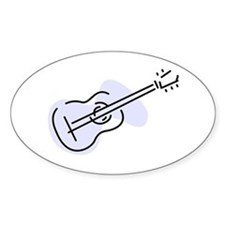 Acoustic Guitar Oval Sticker (Blue)