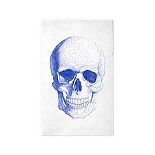 Blue skull 3'x5' Area Rug