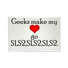 Geek Heart Sounds Rectangle Magnet