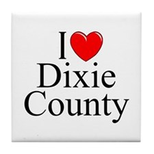 "I Love Dixie County"""" Tile Coaster"
