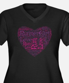 RunnerGirl H Women's Plus Size V-Neck Dark T-Shirt