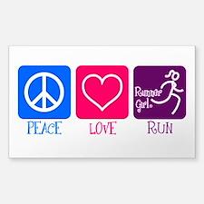 Peace Love Run Sticker (rectangle)