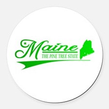 Maine State of Mine Round Car Magnet