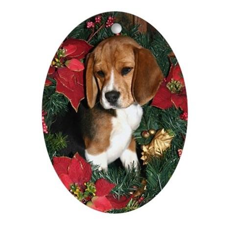 Beagle Puppy Christmas Oval Ornament