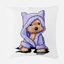 Yorkie Bath Bear Woven Throw Pillow