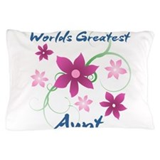 World's Greatest Aunt (Flowery) Pillow Case