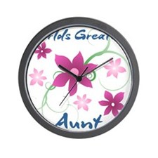 World's Greatest Aunt (Flowery) Wall Clock