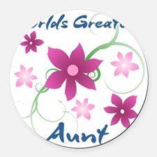 World's Greatest Aunt (Flowery) Round Car Magnet