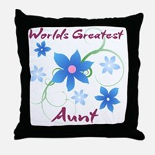 World's Greatest Aunt (Flowery) Throw Pillow