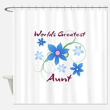 World's Greatest Aunt (Flowery) Shower Curtain