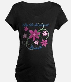 World's Greatest Aunt (Flowery) Maternity T-Shirt