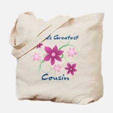 World's Greatest Cousin (Flowery) Tote Bag