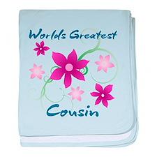 World's Greatest Cousin (Flowery) baby blanket