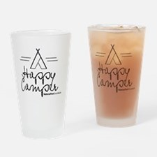 Happy Camper black Drinking Glass