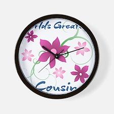 World's Greatest Cousin (Flowery) Wall Clock