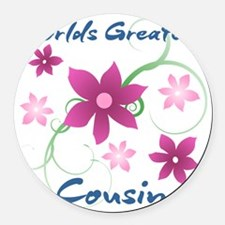 World's Greatest Cousin (Flowery) Round Car Magnet
