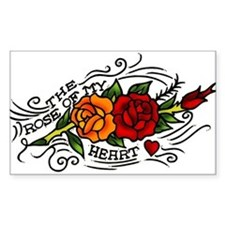 Rose of Heart Tattoo Rectangle Decal