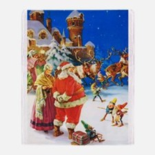 Santa & Mrs. Claus at the North Pole Throw Blanket