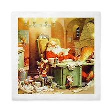 Santa & His Elves Checking His List Queen Duvet
