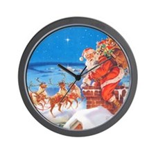 Santa Up On the Rooftop Wall Clock
