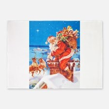 Santa Up On the Rooftop 5'x7'Area Rug