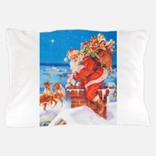 Santa Up On the Rooftop Pillow Case