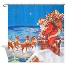 Santa Up On the Rooftop Shower Curtain