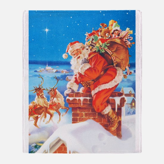 Santa Up On the Rooftop Throw Blanket