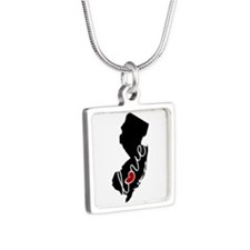New Jersey Love Silver Square Necklace